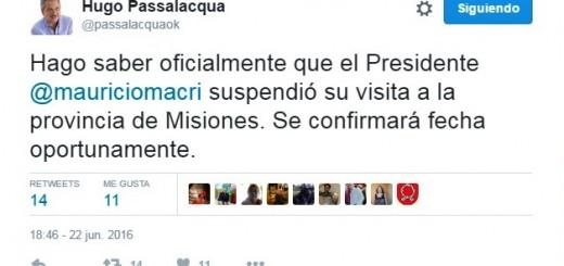 El Gobernador Passalacqua confirmó que Macri reprogramó su visita a Misiones