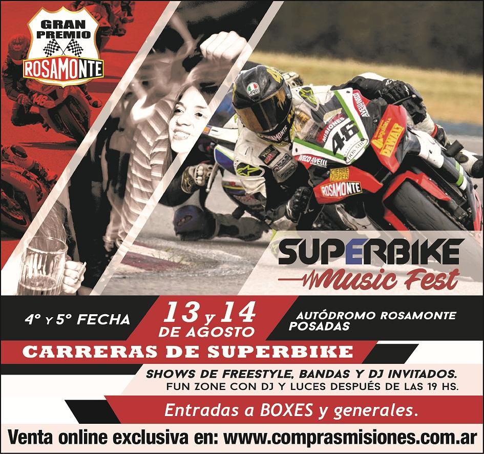 Se viene el Súperbike Music Fest a Posadas: Venta exclusiva de entradas en www.comprasmisiones.com.ar