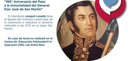 Posadas: mañana a las 14:15 se realizará el acto por el 166 aniversario del fallecimiento del General San Martín