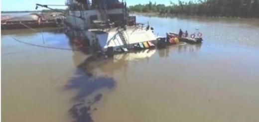 Embarcación paraguaya derramó fuel oil en el río Paraná