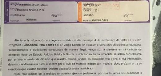 Vea la carta documento que le envió a Jorge Lanata un abogado del PRO de Misiones