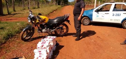 Llevaban 50 gruesas de cigarrillos en una moto y lo detuvo la Policía
