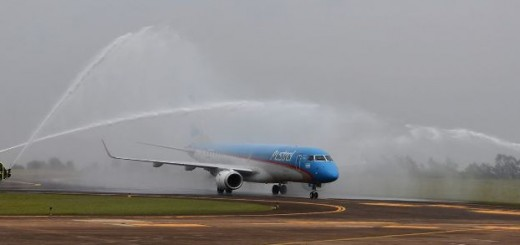 El show del retiro: comandante con 30 años celebró su despedida y bañó a su avión