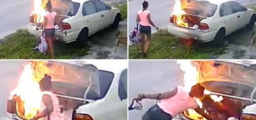 Video: quiso vengarse de su ex incendiándole el auto, pero ocurrió algo inesperado
