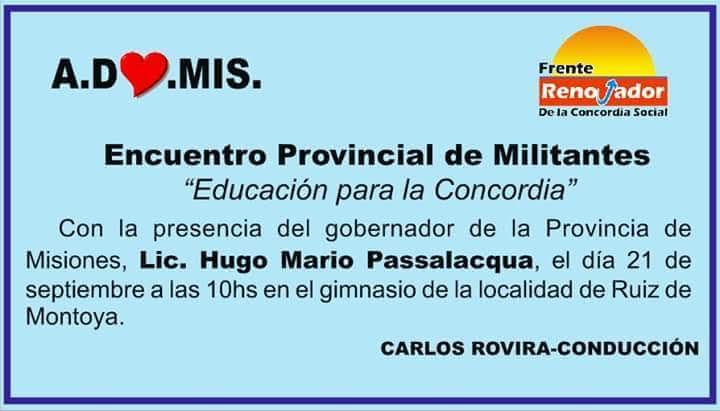 """Organizan un encuentro provincial de militantes bajo la consigna """"Educación para la Concordia"""""""
