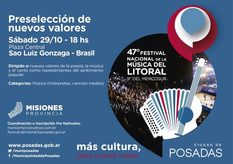 El Festival de la Música del Litoral seleccionará artistas en Brasil y bailarines en Posadas