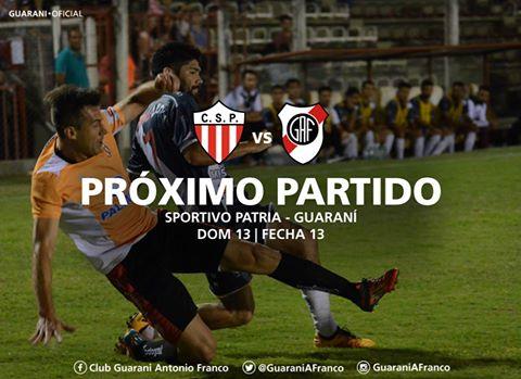 Guaraní visita a Sportivo Patria en Formosa desde las 16.30