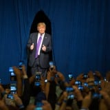 Trump dio un discurso de victoria en el Treasure Island Resort and Casino en Las Vegas el 23 de febrero, tras ganar el caucus de Nevada. Credit Ruth Fremson/The New York Times
