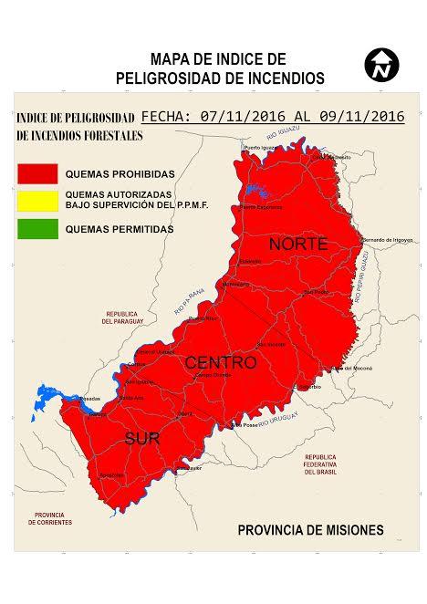 Rige en toda la provincia el índice elevado de peligrosidad de incendio