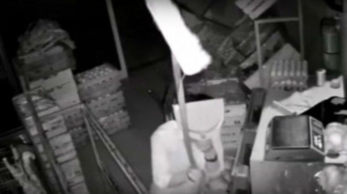 VIDEO: El insólito camuflaje de un ladrón para robar una verdulería