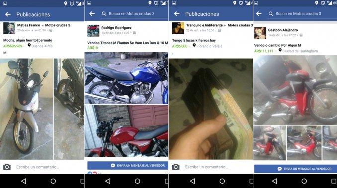 Los increíbles grupos de Facebook en el que se venden motos y armas robadas