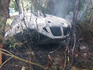 Despistó y se incendió un remis en el acceso a Cataratas