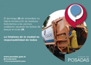 Mañana no habrá recolección de residuos en Posadas