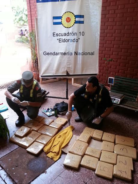 Gendarmería Nacional incautó más de 30 kilos de marihuana en la Terminal de Eldorado