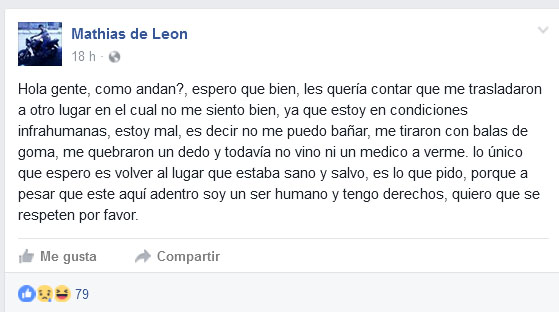 Otro mensaje en Facebook del preso que «relató» un motín desde su celda
