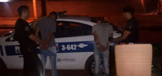 Sorprendieron a un dúo de ladrones cuando robaba el somier de una casa