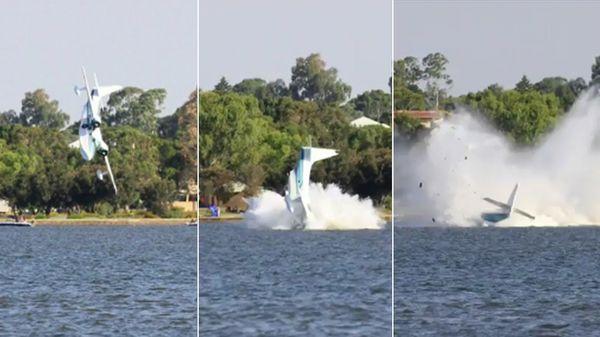 Videos: cayó una avioneta al agua frente a una multitud y murieron los pilotos