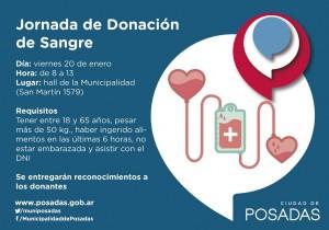 Se realizará una jornada de donación de sangre en la Municipalidad