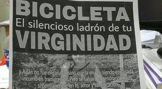 """Una iglesia pentecostal de Santa Fe le pide a sus fieles mujeres  que no usen bicicletas porque les """"roba"""" la virginidad"""