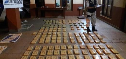 Prefectura secuestró de 160 kilos de marihuana en Puerto Maní