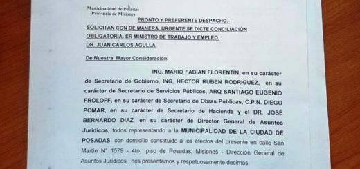 La Municipalidad de Posadas presentó en el Ministerio de Trabajo la solicitud urgente de conciliación obligatoria