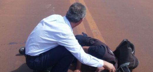 Intendente de Oberá asistió como médico a un policía herido en un accidente de tránsito