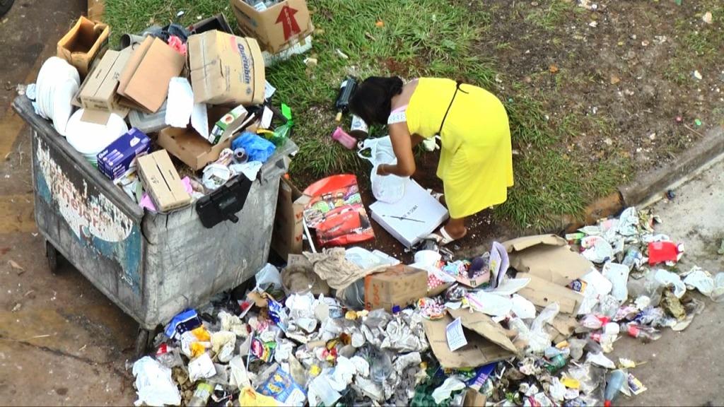 Una vecina desparrama bolsas de basura en la Costanera para dar de comer a las palomas