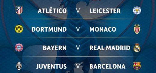 Champions: Juventus-Barcelona y Bayern Munich-Real Madrid los grandes cruces de cuartos de Final