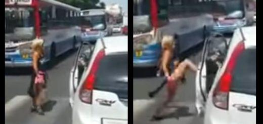 #RelatoSalvaje: Una mujer atacó a patadas a un conductor que la había chocado