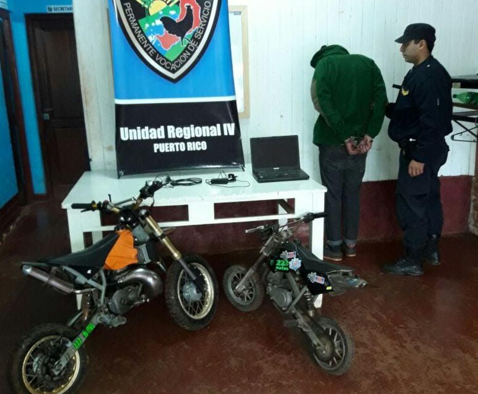 Garuhapé: robó dos motocicletas de competición, intento escapar y fue detenido