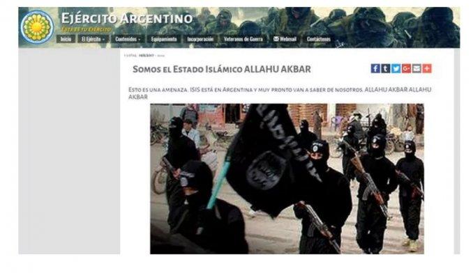 Hackearon la página oficial del Ejército argentino y dejaron mensajes de ISIS