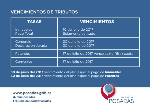 La municipalidad de Posadas hace saber sobre los vencimientos de los tributos