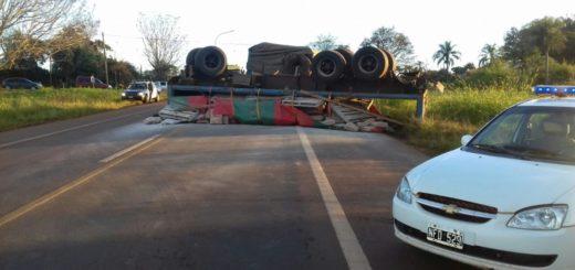 Un camión cargado con materiales de construcción  despistó en Campo Viera