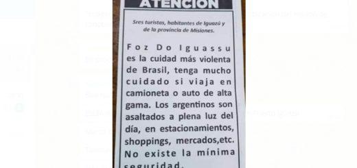 Denuncian que distribuyen panfletos con falsa información sobre la seguridad en Foz de Iguazú