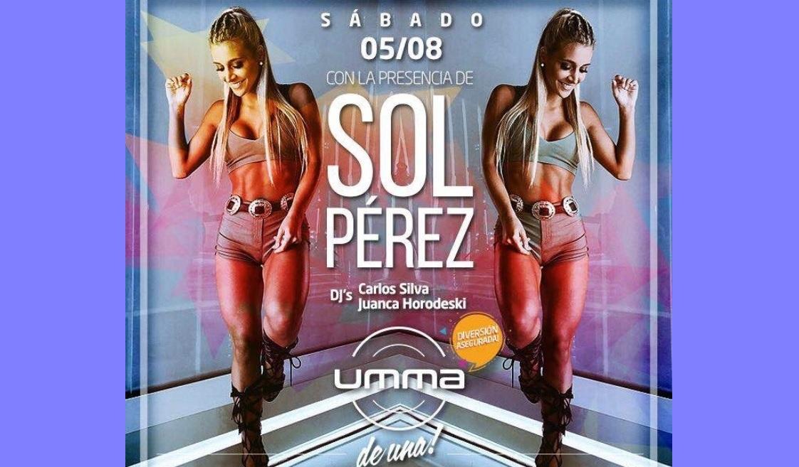 La chica del momento, Sol Peréz estará en UMMA este sábado