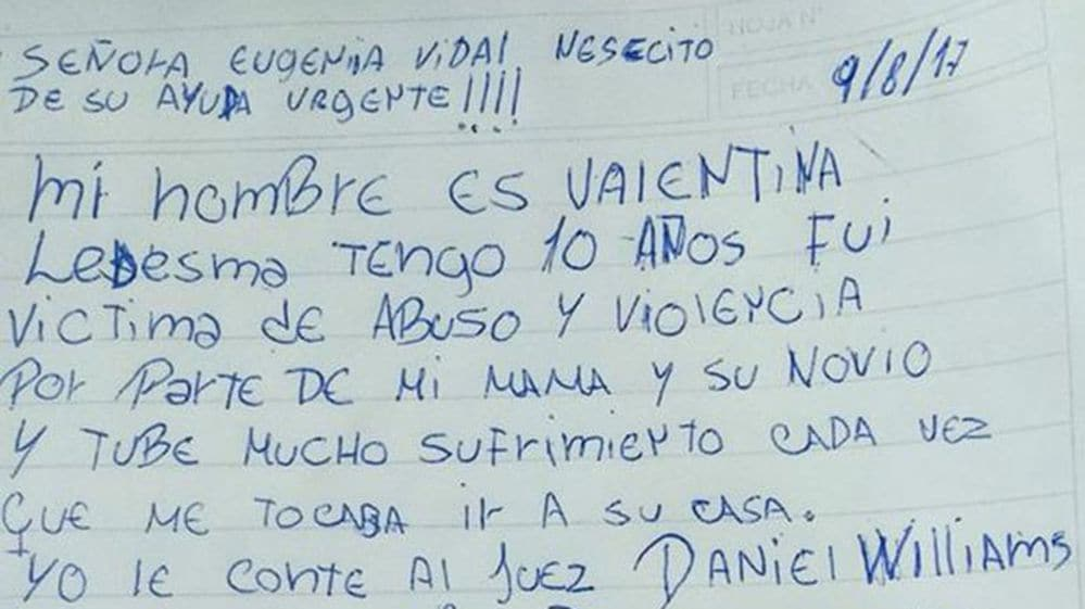 """La carta de Valentina: dijo que no quiere ver más a su mamá y para la Justicia """"le lavaron la cabeza"""""""