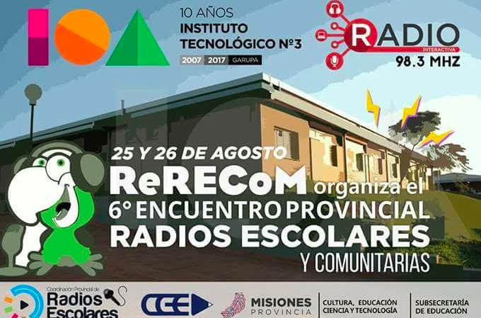 Invitan al sexto Encuentro Provincial de Radios Escolares y Comunitarias ReReCom