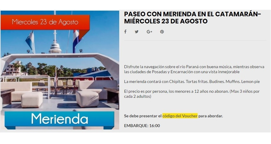 Mañana a la tarde paseá y merendá en el Catamarán de Posadas: Contratalo en www.comprasmisiones.com.ar y pagá en cuotas con tarjeta