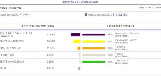 PASO 2017: resultados oficiales en Misiones para la categoría Diputados Nacionales