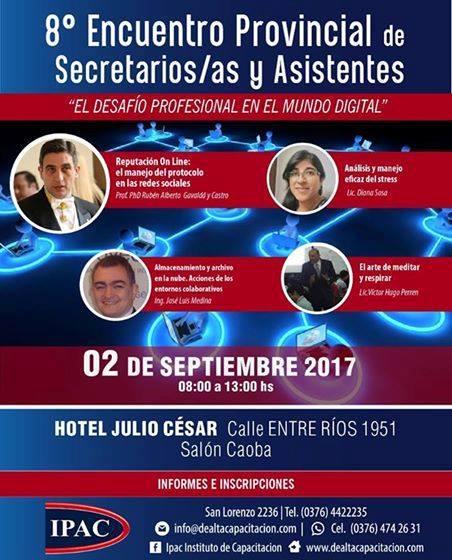 """8º Encuentro Provincial de Secretarios, Secretarias y Asistentes: """"El desafío profesional en el mundo digital"""""""
