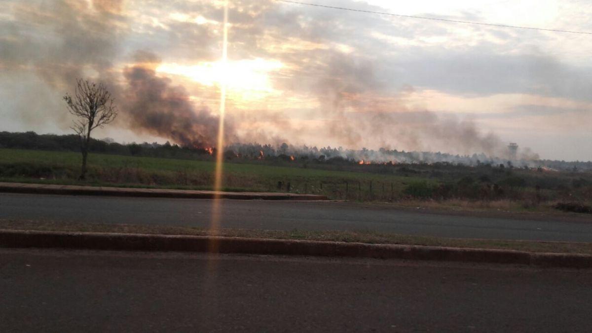 Preocupación por el incendio de malezas en en Acceso Oeste de Posadas, cerca del aeropuerto