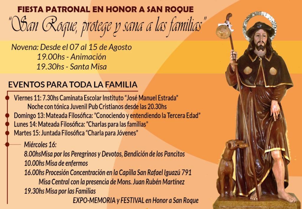Hoy se realiza la fiesta patronal en honor a San Roque en el barrio Los Aguacates de Posadas