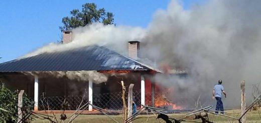 Se incendió una casa en el Kilómetro Ocho de Eldorado