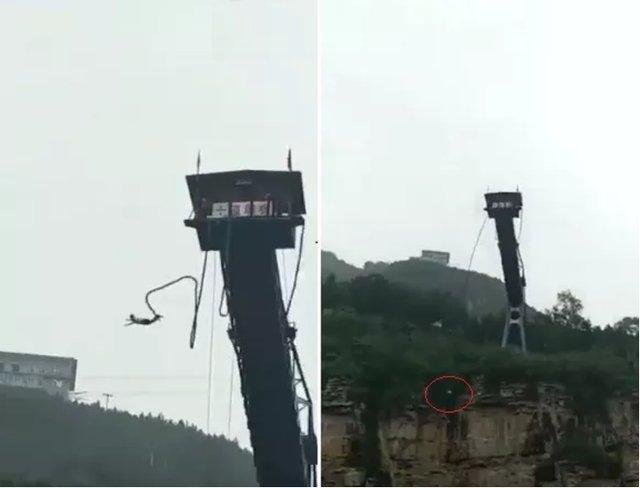 Se tiró en bungee jumping, se cortó la soga y cayó al río