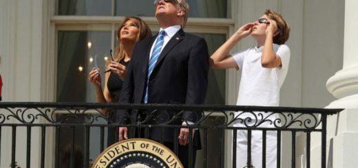 La familia Trump observó el eclipse desde la Casa Blanca