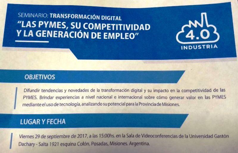 """Invitan al Seminario Transformación Digital: """"Las PyMES, su competitividad y la Generación de Empleo"""""""