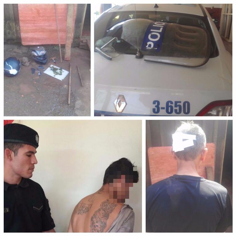 Descontrolado agredió a su padre con una botella, luego arremetió con palos y piedras contra los policías que fueron a detenerlo
