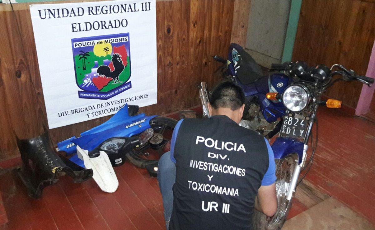 La Policía desmanteló un desarmadero  de motos en Eldorado