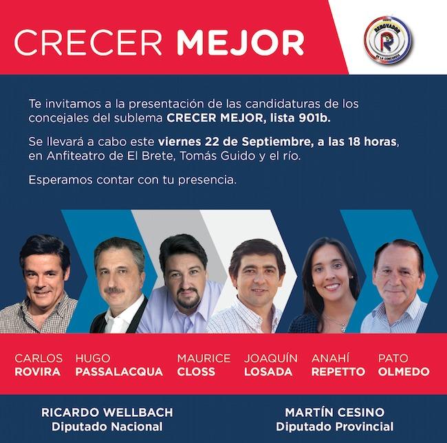 El sublema Crecer Mejor presentará sus candidatos a concejales de Posadas este viernes