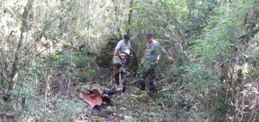Abandonaron en un yerbal una moto robada en Santo Pipó